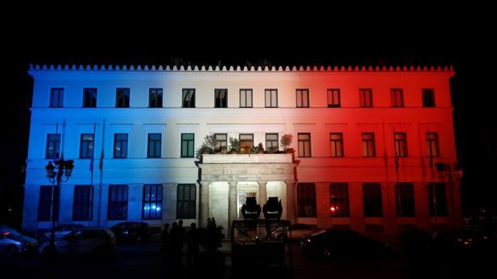 Greek Support for Nice: Flags at Half Mast, Buildings Lit With Colors of French Flag