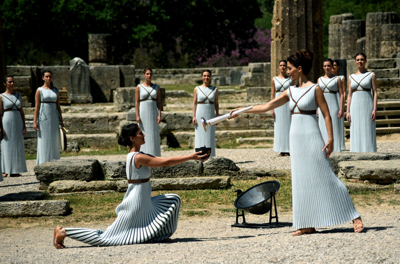 Olympic Flame for the Rio Games has been Lit in Olympia, Greece