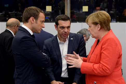 Το ζήτημα του ελληνικού χρέους συζήτησαν Τσίπρας, Μέρκελ και Μακρόν