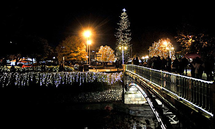 Town of Trikala Claims Highest Christmas Tree in Greece