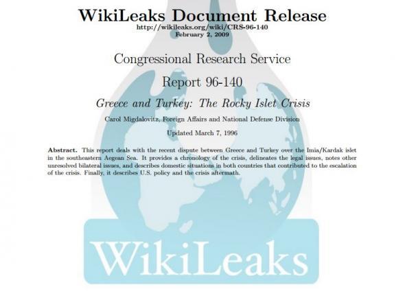 Έγγραφα των Wikileaks για τον ρόλο των ΗΠΑ στα Ίμια το 1996