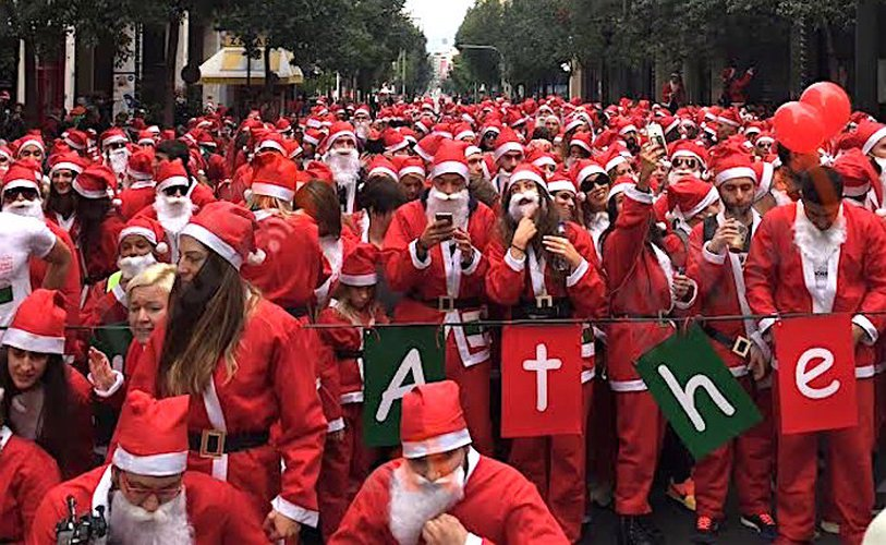 Santa Clause Run Floods Central Athens!